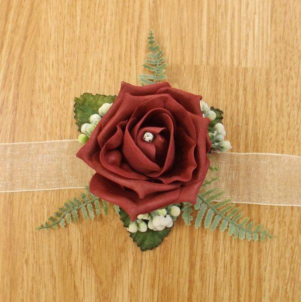 burgundy rose wrist corsage
