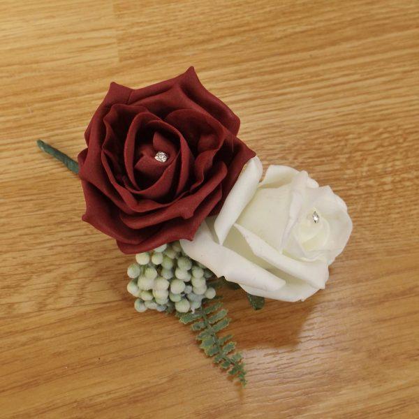 burgundy fern corsage
