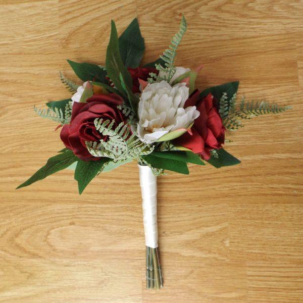 burgundy silk rose bridesmaid bouquet