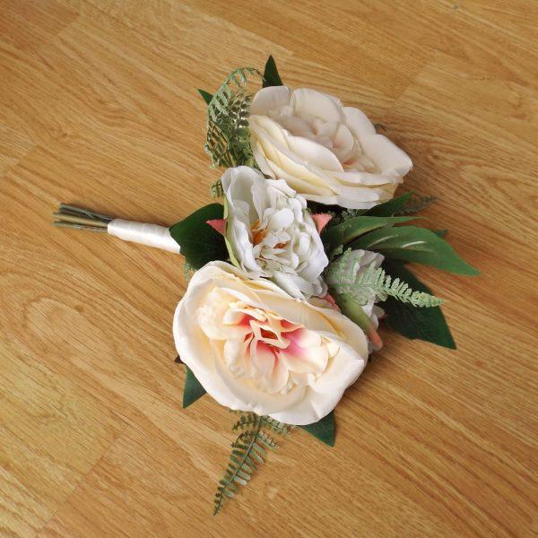champagne peony silk bridesmaid bouquet