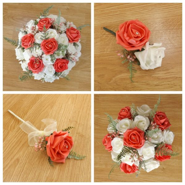 coral artificial flower collection
