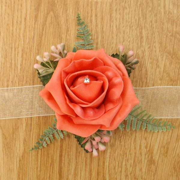 coral rose wrist corsage