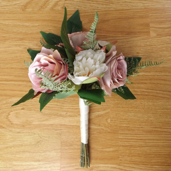 dusky pink silk rose bridesmaid bouquet