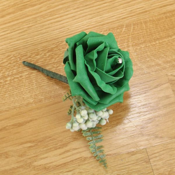 emerald green fern buttonhole