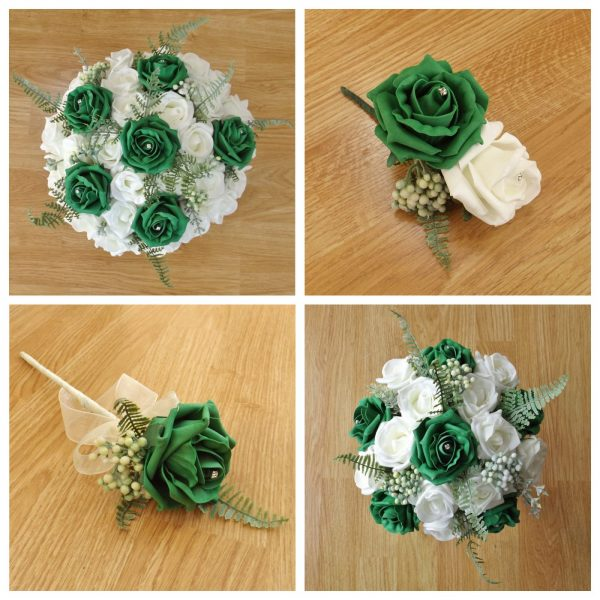 emerald green artificial flower collection