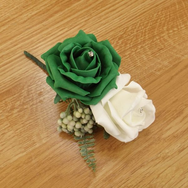 emerald green fern corsage