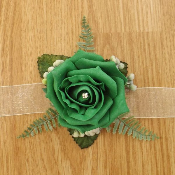 emerald green rose wrist corsage
