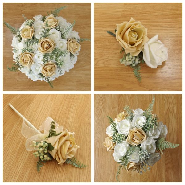 gold artificial flower collection