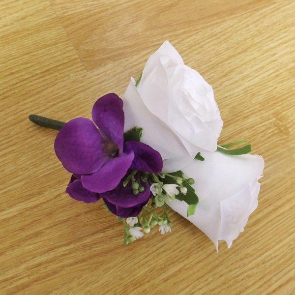 white purple hydrangea corsage