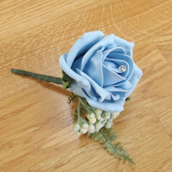 light blue fern buttonhole