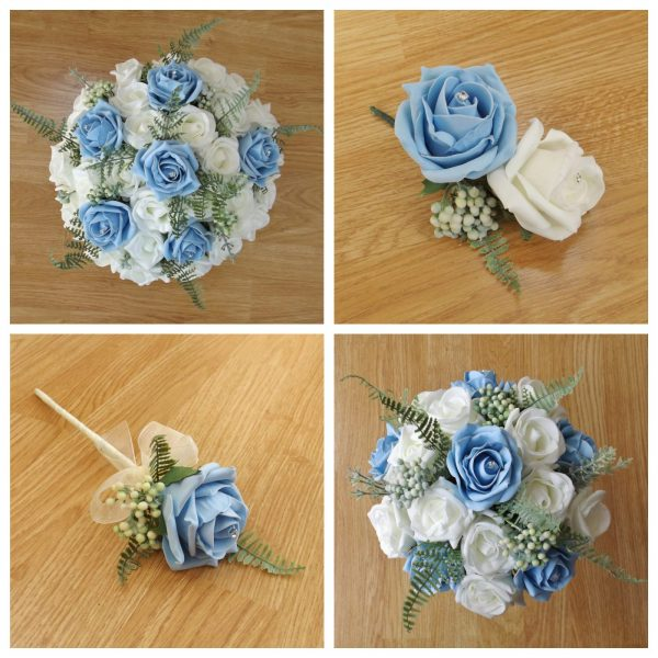 light blue artificial flower collection