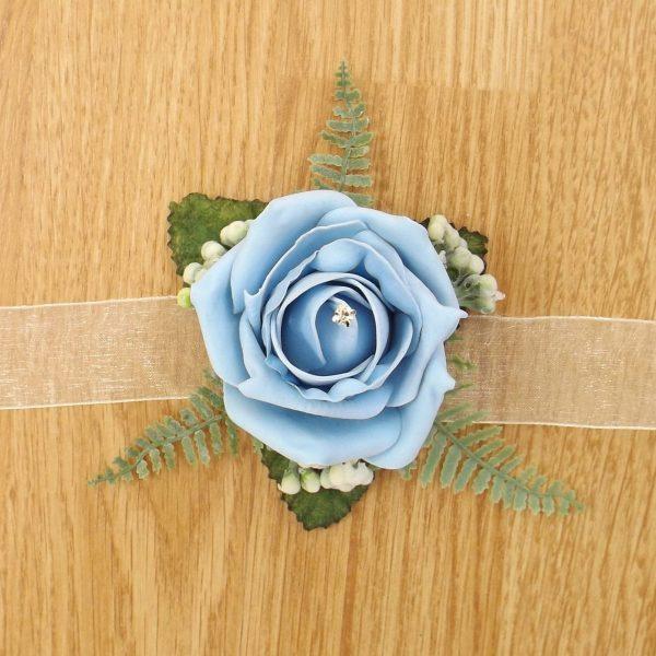 light blue rose wrist corsage