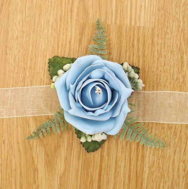 light blue rose wrist corsage