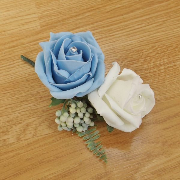 light blue fern corsage