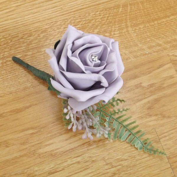 lilac fern buttonhole