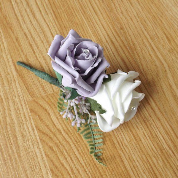 lilac fern corsage