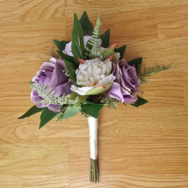 lilac silk rose bridesmaid bouquet