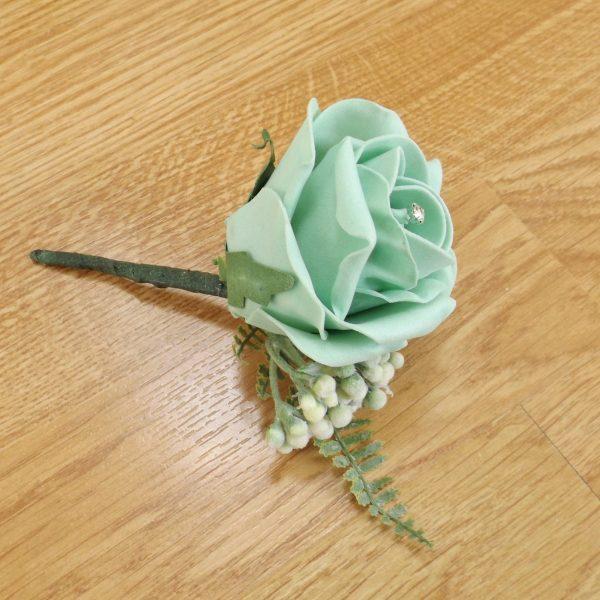 mint green fern buttonhole
