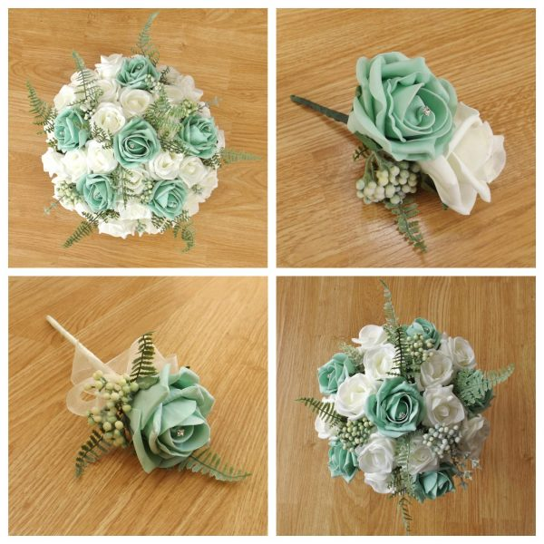 mint green artificial wedding flower collection