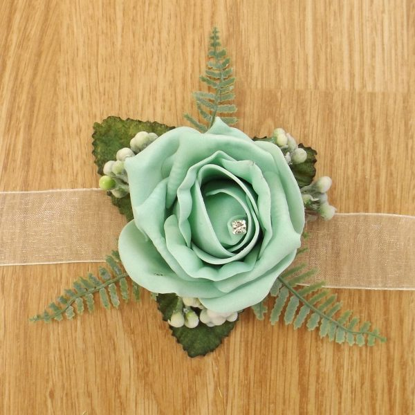 mint green rose wrist corsage