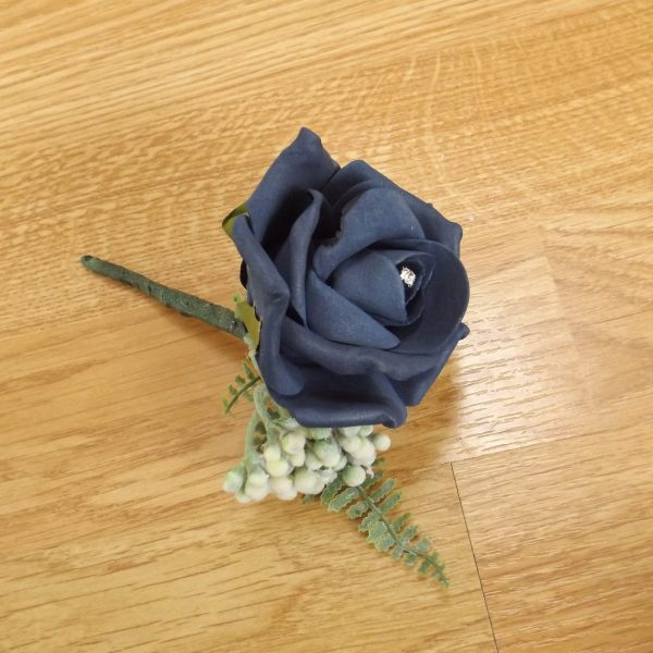 navy fern buttonhole