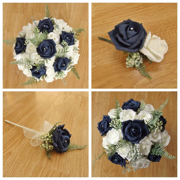 navy artificial wedding flower collection