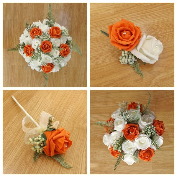 orange artificial wedding flower collection
