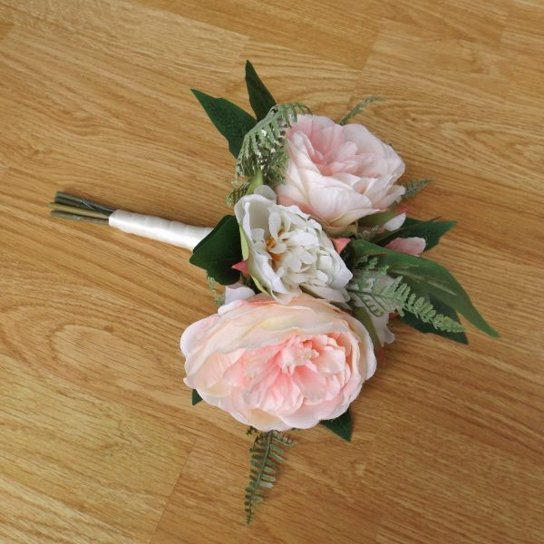 light pink silk peony bridesmaid bouquet