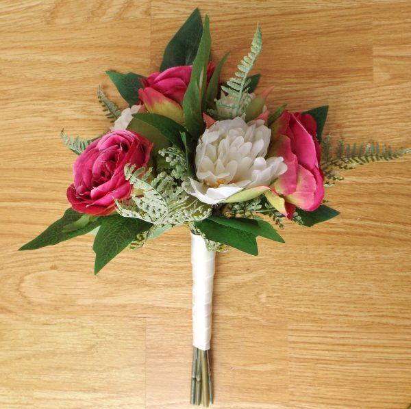 bright pink silk rose bridesmaid bouquet