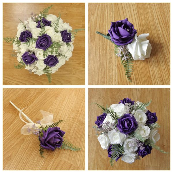 purple artificial wedding flower collection