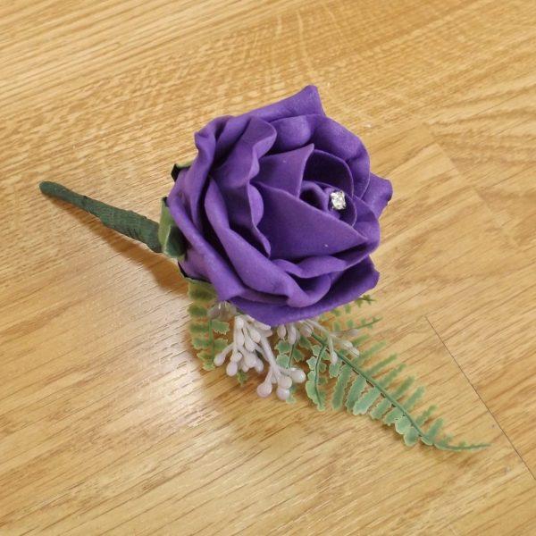 purple fern buttonhole