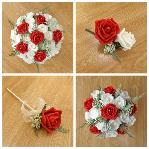 red artificial wedding flowers