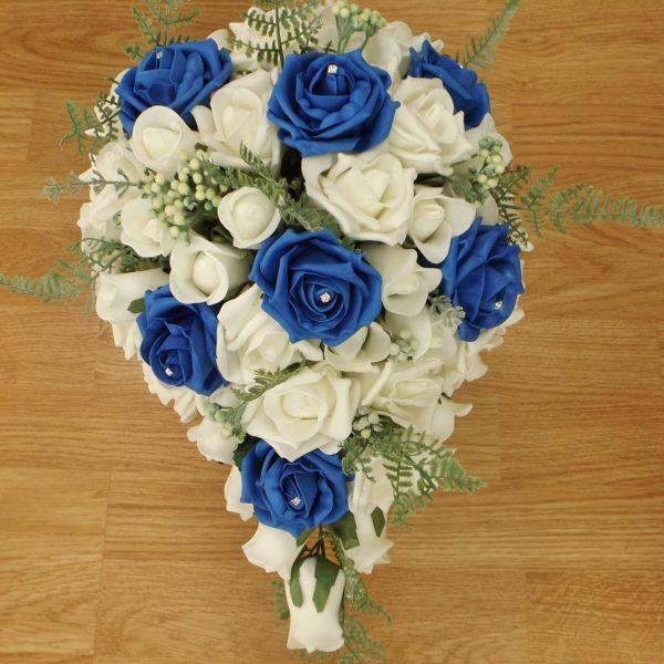 royal blue fern rose brides shower