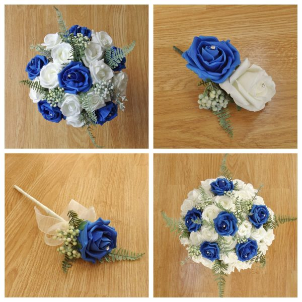 royal blue artificial wedding flower collection