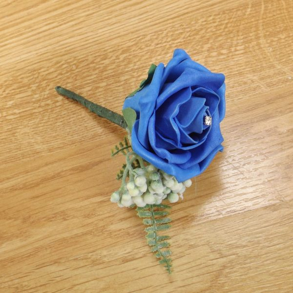 royal blue fern buttonhole