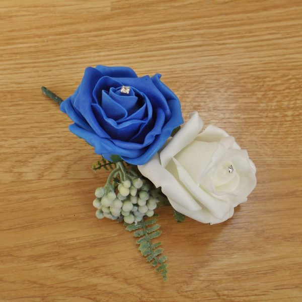 royal blue fern corsage
