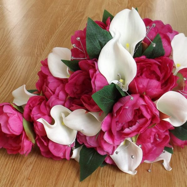 pink peony and calla brides shower