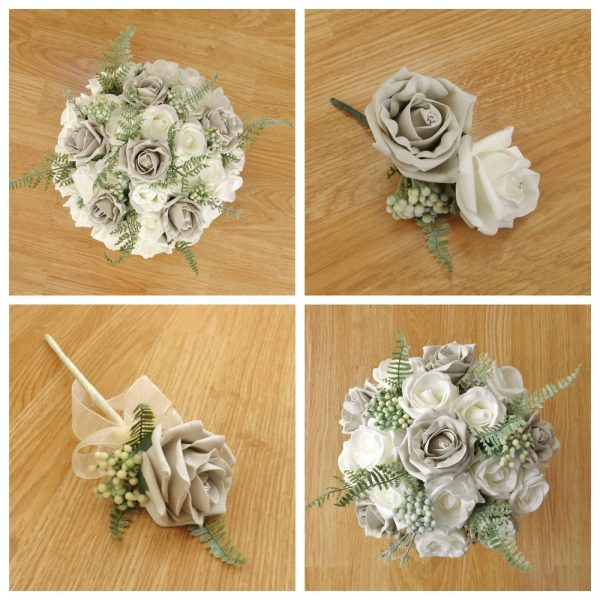 silver artificial wedding flower collection
