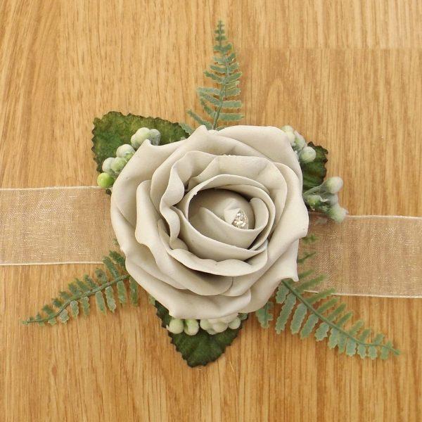 silver rose wrist corsage