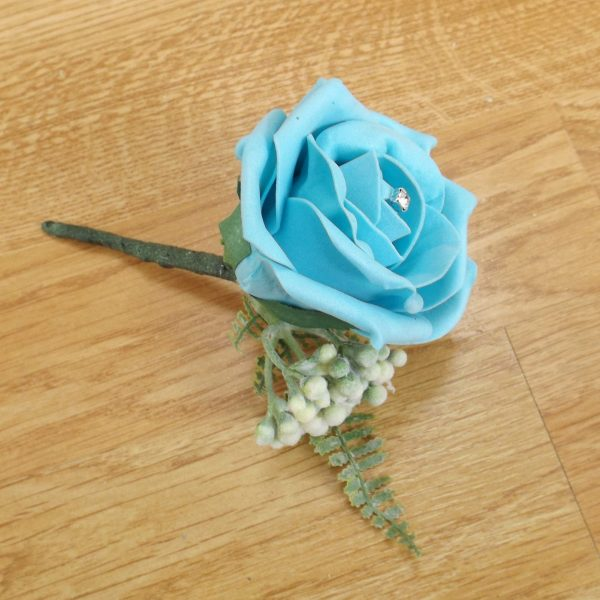 turquoise fern buttonhole