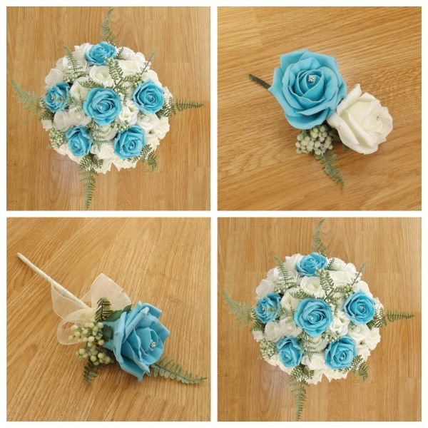 turquoise artificial wedding flower collection