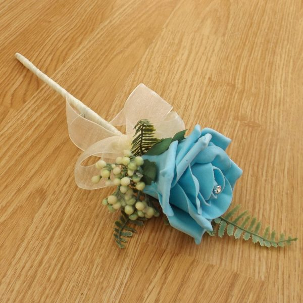 turquoise flower girl wand