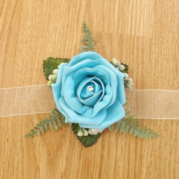 turquoise rose wrist corsage