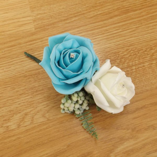 turquoise fern corsage