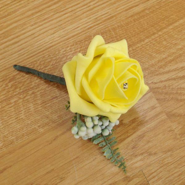 yellow fern buttonhole