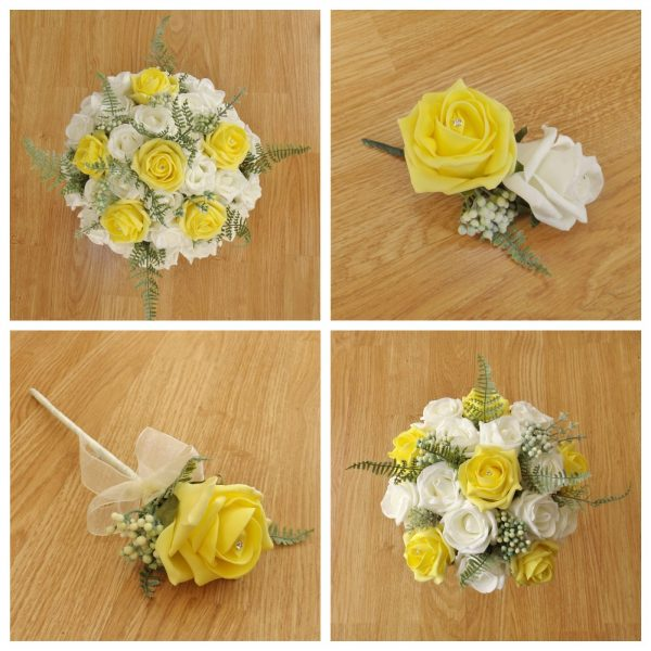 Yellow artificial wedding fower collection
