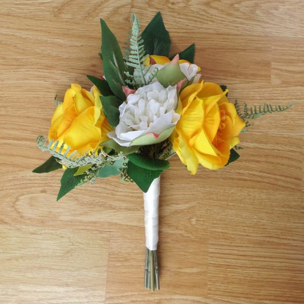 yellow silk rose bridesmaid bouquet