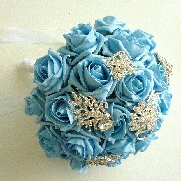 Light Blue Rose Artificial Brooch Brides Bouquet
