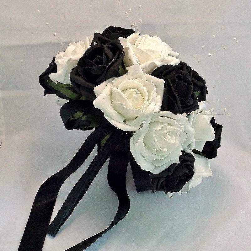 White & Black Artificial Rose Brides Bouquet