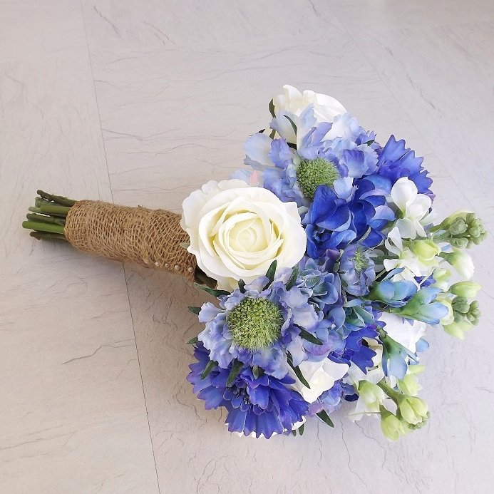 Ivory & Blue Hydrangea Silk Brides Bouquet